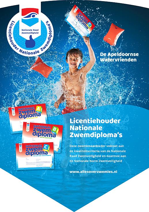 Apeldoornse Watervrienden is licentiehouder nationale zwemdiploma's